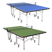 Butterfly Easifold 16 Ping Pong Table, is a Quick Assembly Ping Pong Table that Features a 16mm Thick Top with a Sturdy Frame and Compact Folding Storage with 4 wheels on each half.