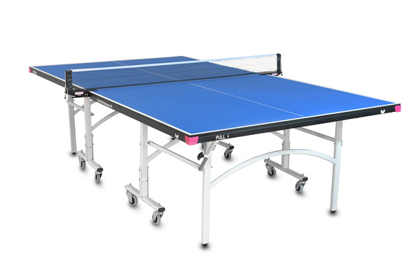 Butterfly Easifold 16 Ping Pong Table, that Features a Blue 16mm Thick Top with a Sturdy Frame and Compact Folding Storage Design with 4 wheels on each half.