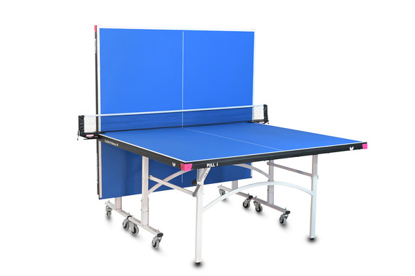 Butterfly Easifold 16 Ping Pong Table, that Features a Blue 16mm Thick Top with a Sturdy Frame in the Playback position.
