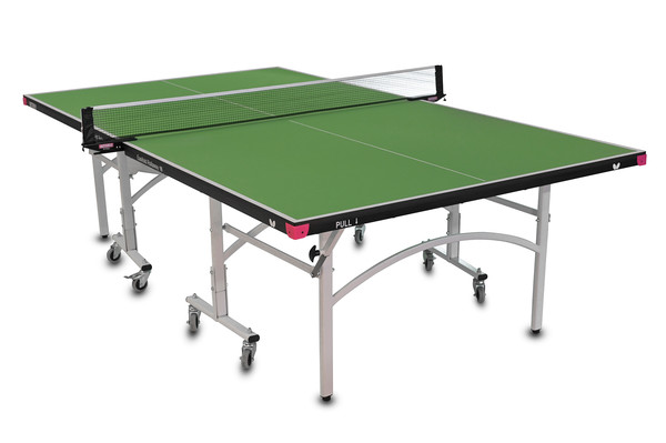 Butterfly Easifold 16 Ping Pong Table, that Featuring a Green 16mm Thick Top with a Sturdy Frame and Compact Folding Storage Design with 4 wheels on each half.