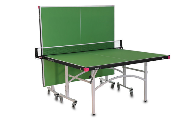Butterfly Easifold 16 Ping Pong Table, that Features a Green 16mm Thick Top with a Sturdy Frame in the Playback position.