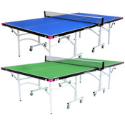 Butterfly Easifold 19 Ping Pong Table is a 19mm blue or green regulation sized table that features a 10 minute quick assembly, with compact face to face compact storage design and a 3 year warranty.