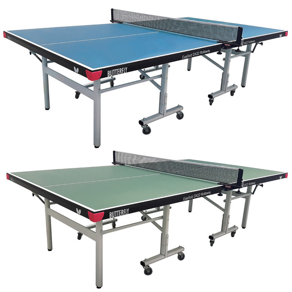 Butterfly Easifold DX 22 Table Tennis Table is a 22mm blue or green table top that features a 10 minute quick assembly, with compact face to face compact storage design and a 3 year warranty.