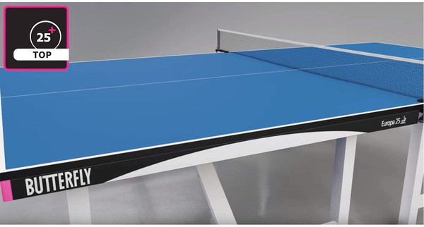 Butterfly Europa 25 Table Tennis Table has a 25mm or 1 Inch Thick Top, that is ITTF approved for international tournaments.