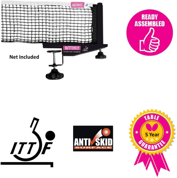 Butterfly Europa 25 Table Tennis Table comes with Butterfly National League Net St, already assembled, just need to add net, is ITTF approved, comes with AntiSkid top, and a 5 year warranty.