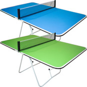 Butterfly Family Mini Ping Pong Table pictured here is a 1 piece portable ping pong table for tailgating games available in blue and green. It measures 2 feet tall, and is great for small kids.
