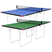 The Butterfly Junior Ping Pong Table, is a regulation height, 3/4 lengthed sized table avaible in blue & green that is a space saving table for the game room. Has a sturdy frame & assembled net set.