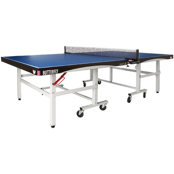 The Butterfly Octet 25 Rollaway Table Tennis Table is a professional table tennis table pictured, that is ITTF approved for tournaments, comes with a 5 year warranty and a professional ping pong net.