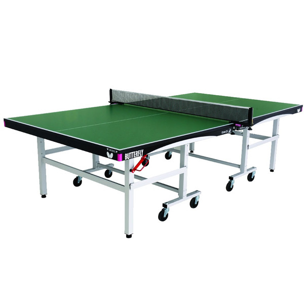 The Butterfly Octet 25 Rollaway Table Tennis Table is a professional table tennis table pictured, that is ITTF approved for tournaments, comes with a green top and a 5 year warranty.