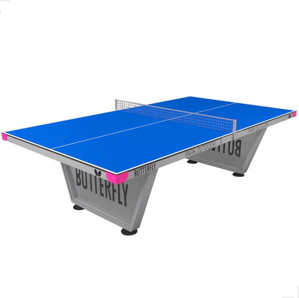 Butterfly Park Outdoor Ping Pong Table, an outdoor table tennis table. Built with a sturdy frame, anti-glare weatherproof top & and outdoor net. Comes with a 10 year warranty.