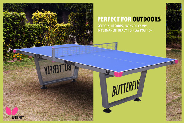 Butterfly Park Outdoor Ping Pong Table, pictured here showing its 7mm weatherproof coated top, also features an anti-glare coating.