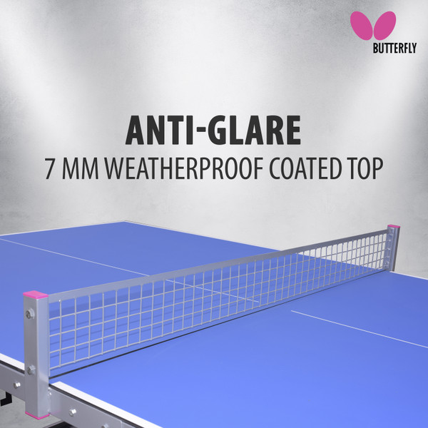 Butterfly Park Outdoor Ping Pong Table, pictured, has clear covering between the end legs with a Butterfly logo printed in black. Also shows pink end caps with wing and word logo printed on rails.