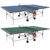 "Butterfly Playback 19 Table Tennis Table shown here is available in blue or green, is a folding ping pong table that has a 3/4"" top and comes with double wheels and a net set is included."