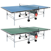 Butterfly Playback Rollaway Outdoor Ping Pong Table shown here in blue and green, is a rolling outdoor table tennis table, that has a weatherproof ping pong net, and also has a 10 year warranty.