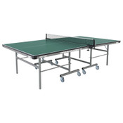 "Butterfly Premium 19 Rollaway Table Tennis Table, pictured here, comes with a 3 Year Warranty, sturdy frame for schools, rec centers, or game rooms, and features 4"" locking rubber wheels."