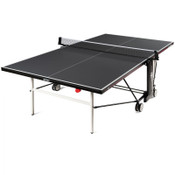 The Butterfly Timo Boll Repulse Indoor Ping Pong Table is new for 2020! It is pictured in the playing position. It comes with a 3-Year Warranty. Comes with an adjustable ping pong net set.