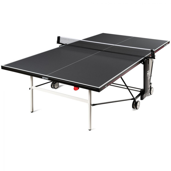 This Butterfly Timo Boll Repulse Indoor Ping Pong Table is new for 2020! It is pictured in the playing position. It comes with a 3-Year Warranty. Comes with an adjustable ping pong net set.