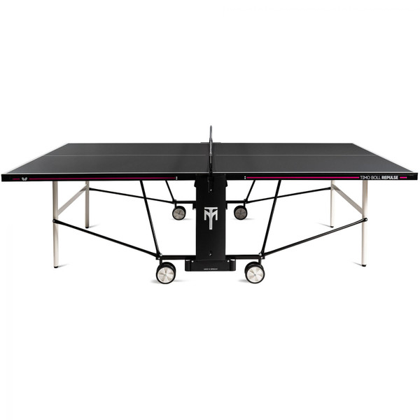 The Butterfly Timo Boll Repulse Indoor Ping Pong Table is is shown here in a side profile show the sleek design and trim that is printed on the sides.