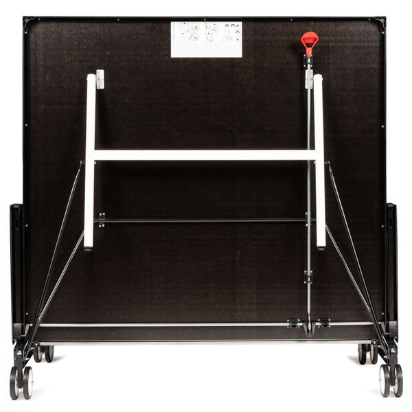 The Butterfly Timo Boll Repulse Indoor Ping Pong Table storage position shown here, gives you a view of the underside of the table to see the complete locking mechanism.